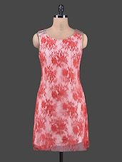 Red Floral Lace Sleeveless Shift Dress - Shivani&Joy