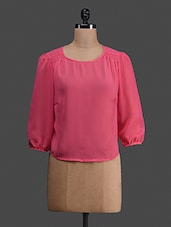Pink Plain Georgette Round Neck Top - C M Clothing