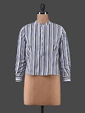 Black Stripes Printed Crepe Top - C M Clothing