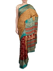 Mustard And Maroon Printed Cotton Silk Saree - By
