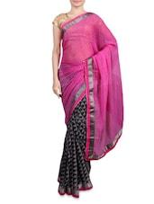 Pink Printed Chiffon Saree - By