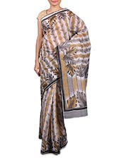 Beige And White Printed Cotton Silk Saree - By