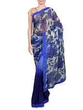 Blue Printed Chiffon Saree - By
