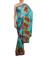 Blue Printed Georgette Saree - By