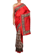 Red And Beige Printed Art Silk Saree - By