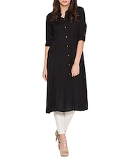 Solid Black Rayon Flared Kurta - By