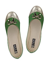 Green Artificial Leather Ballerinas - TEN
