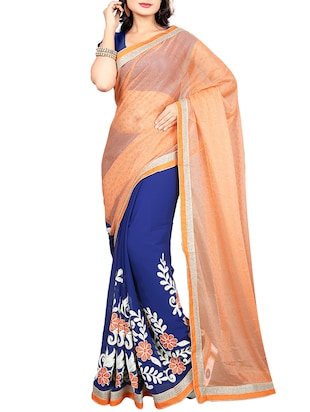 orange georgette half and half saree -  online shopping for Sarees