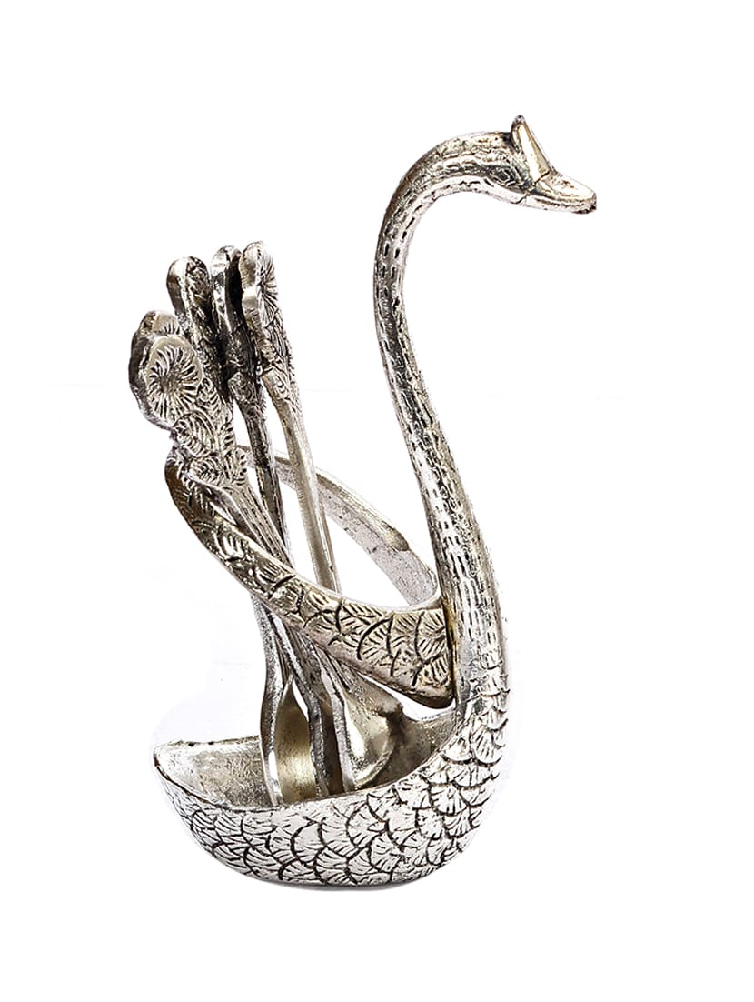 Silver Metallic Finish Swan Shape Spoon Stand - By
