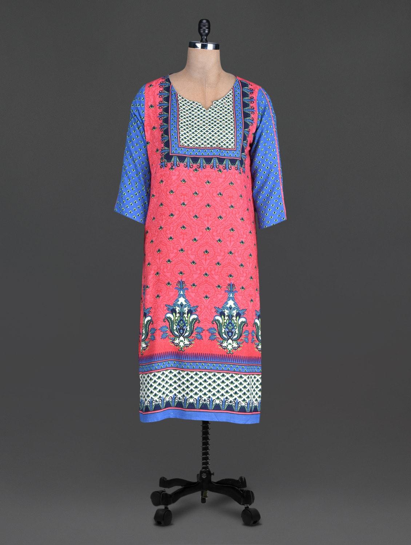 Red Sequin Worked Printed Cotton Round Neck Kurta - SHREE