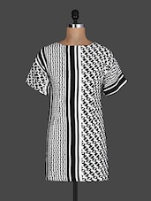 Monochrome Stripe Houndstooth Pattern Print Short Sleeve Dress - Sakhi Styles