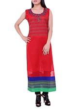 Red Embroidered Cotton Sleeveless Kurti - Sequins