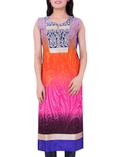 Multicolour Printed Cotton Round Neck Kurti - By