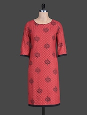 Round Neck Sleeveless Polka Pattern Print On Print Red Kurta - By