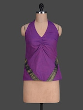 V Neck Solid Color Sleeveless Purple Top - 9rasa