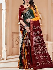 red cotton bandhani saree -  online shopping for Sarees