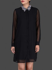 Black Shirt Dress With Embellished Collar - By