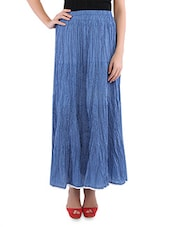 Blue Cotton Polka Dots Long Skirt - By