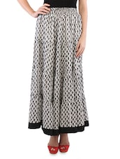 Monochrome Cotton Printed Long Skirt - By