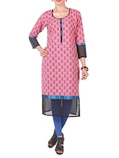 Block Print Round Neck Long Kurta - Morpunc