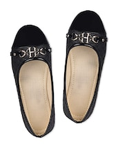 Black Faux Leather Ballerinas - A&N