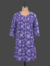 Floral Print Round Neck Dress - Sepia