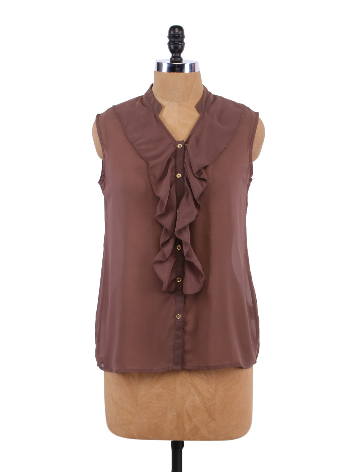 Solid Color Ruffle Neck Top - Sepia