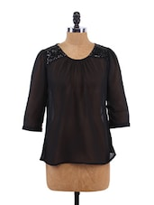 Solid Color Lace Shoulder Top - Sepia