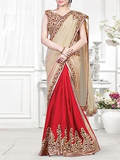 beige chiffon embroidered half and half saree saree -  online shopping for Sarees