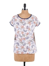 Floral Print Short Sleeve Top - Sepia