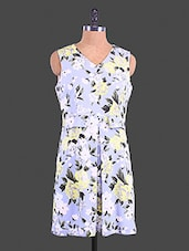Blue Floral Printed Polyester Dress - Lemon Chillo