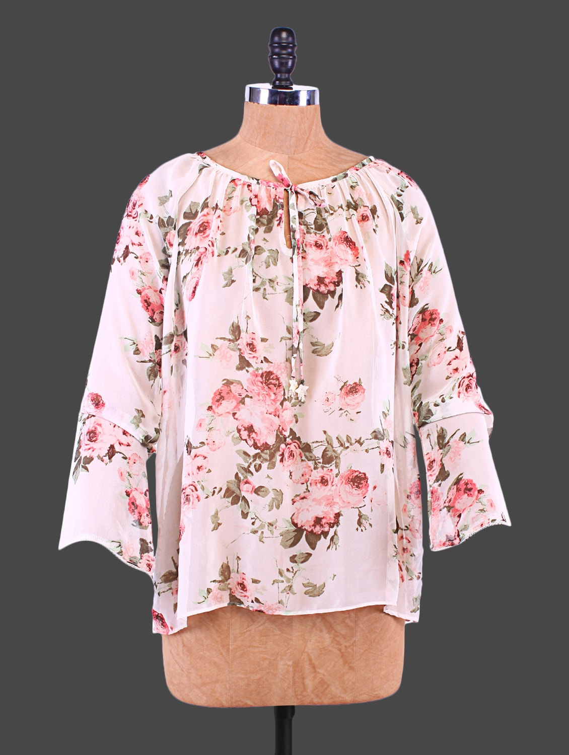 White Rose Printed Polyester Top - By