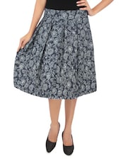 Blue Cotton Printed Skirt - By