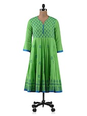 Green Block Printed Cotton Anarkali Kurti - By