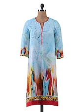 Multicolour Digital Printed Georgette Kurti - By