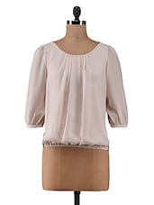 Beige Plain Poly Georgette Casual Top - By