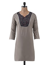 Grey Printed Cotton Casual Kurti - By