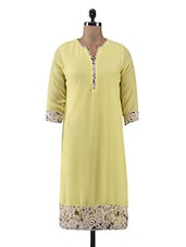 Yellow Hand Embroidered Poly Georgette Pulkari Kurti - By