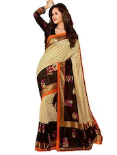 beige and black printed cotton saree -  online shopping for Sarees