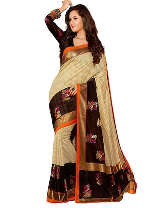 beige and brown printed cotton saree -  online shopping for Sarees