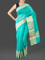 Zari Border Plain Solid Cotton Art Silk Saree - By