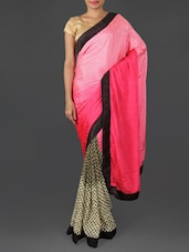 Pink And Beige Georgette Jacquard Saree - By