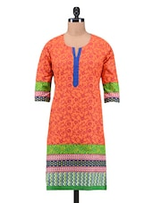 Orange Cotton Printed Kurti - By