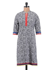 White And Black Cotton Printed Kurti - By
