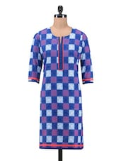 Blue Cotton Printed Kurti - By