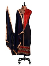 Embroidered Navy Blue Semi-Stitched Suit Set - By