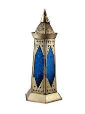 Blue Glass And Gold Metal Handmade Lantern - Sutra Decor