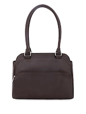 Plain Solid Brown Leatherette Handbag - Bagsy Malone