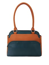 Colour Block Leatherette Handbag - Bagsy Malone