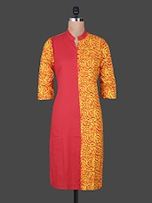 Yellow And Coral Printed Cotton Kurta - By